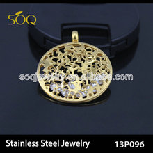 13P096 Europe Style Fashion Floral Hollow Charm Gold Plated Stainless Steel Crystal pendants