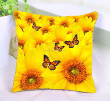 New arrival butterfly digital printing cushion cover pillow case cover with beautiful sunflower