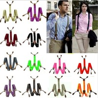 2017 New Mens Suspenders solid Adjustable 6 Button hole Leather Fittings Braces