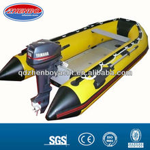 yellow PVC Aluminum floor inflatable rubber sports boat