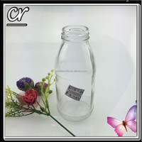 manufacture 250ml 8 oz fresh milk glass bottle with safety button cap