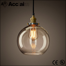 Indoor decorative industrial vintage hand blown glass globe pendant light