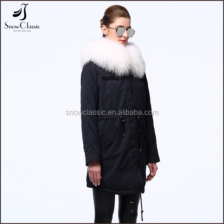 2017 fashion clothes long hoodie jacket woolen collar women warm winter cotton coat