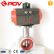 food grade double acting sanitary pneumatic actuated butterfly valve