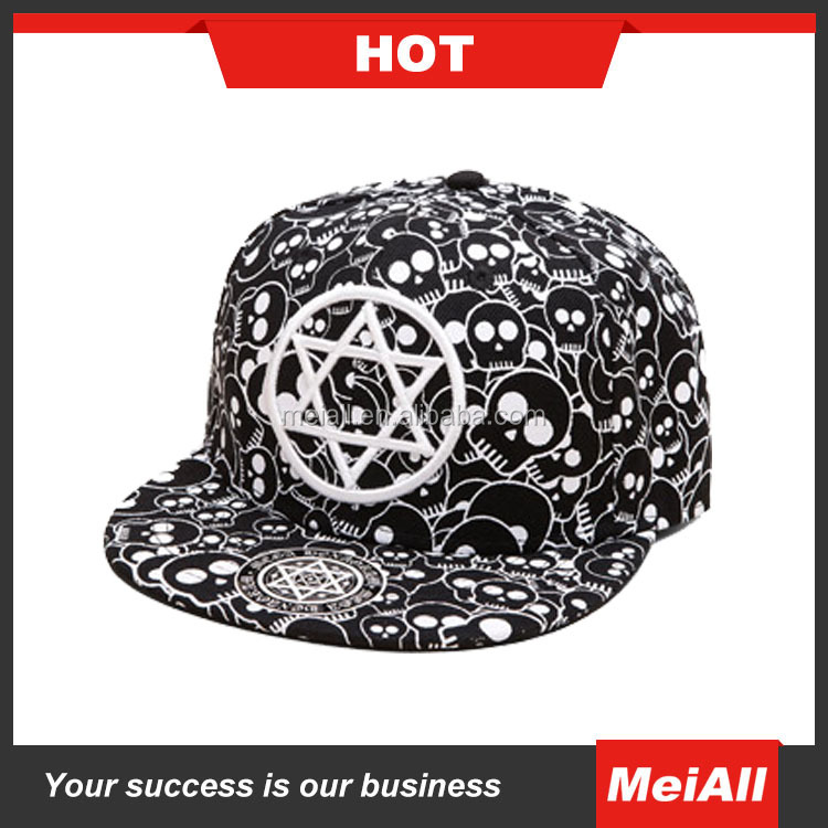 hot sale custom design hat flat bill printed patch embroidery snap back plain two tones snapback hats cap