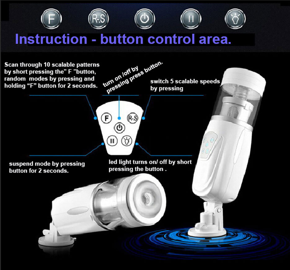Sex toy male masturbation device with suction cup artificial vagina design thrusting and low frequency