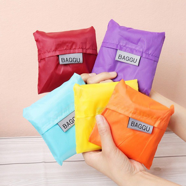Portable Shopping Bag Reusable Foldable Large Capacity Candy Color Handbag Eco-friendly Durable Nylon Grocery Bags Easy to Carry