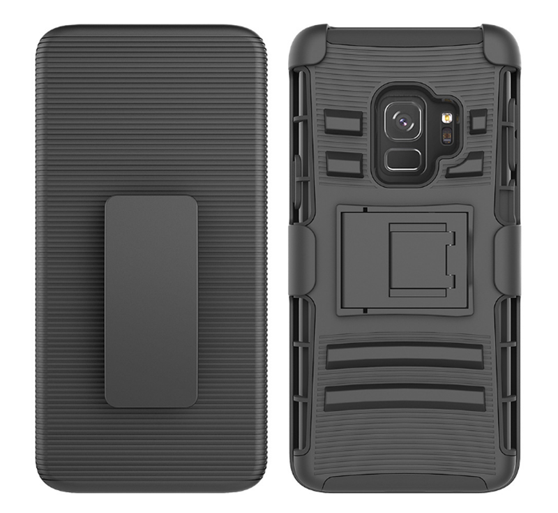 Robot holster housing clip armour for Samsung S9 S9 plus rubberized non slip case