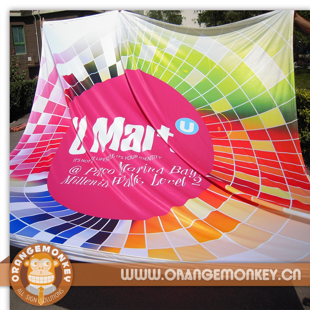 Large Size Printed Polyester Fabric Banner/Promotional Poly Cloth Banner