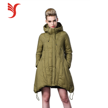 New fashion design women Cotton-padded jacket green thicken warm lady down coat for winter