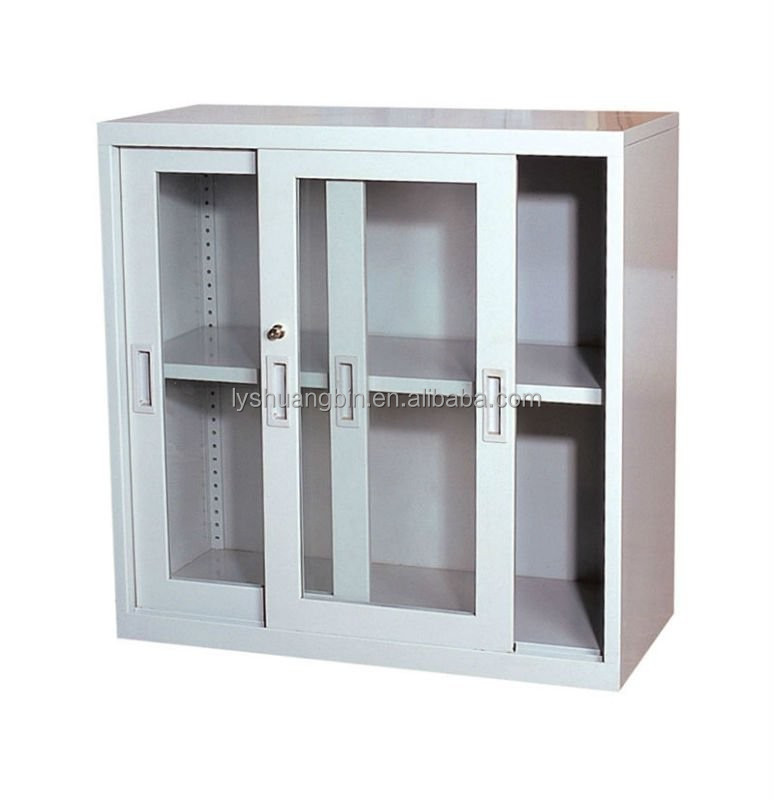 2 door small metal file storage cabinet / glass cheap sliding door filing cabinet