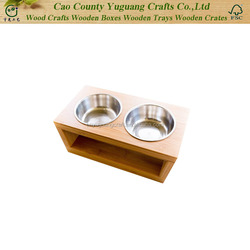 Dog and Cat Pet Feeder, Double Bowl Raised Stand Comes with Extra Two Stainless Steel Bowls. Perfect for Dogs and Cats..jpg