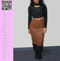 Wholesale long sleeves black top with brown 2 piece bandage dress for women