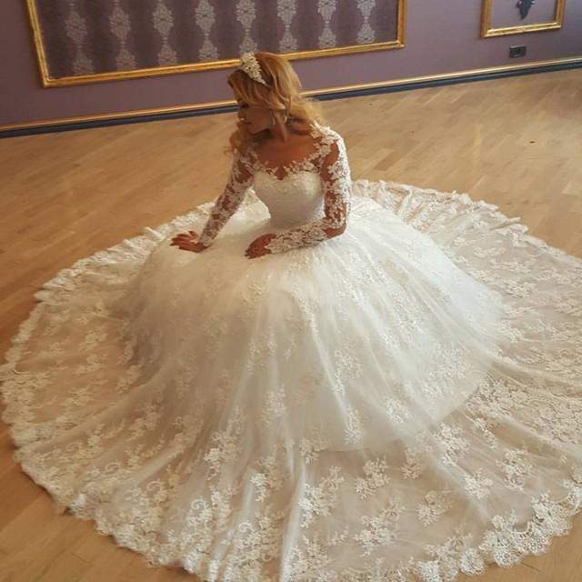 NE113 2018 Vestido de Noiva Princesa Wedding Dress Long Sleeves Bride Dresses Bead Bodice Ball Gown Bruidsjurken Hochzeitskleid