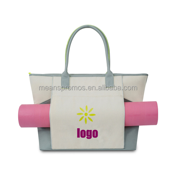 New Design Popular Compartment Beach Canvas Tote bag With Zipper Closure Handle For Travel
