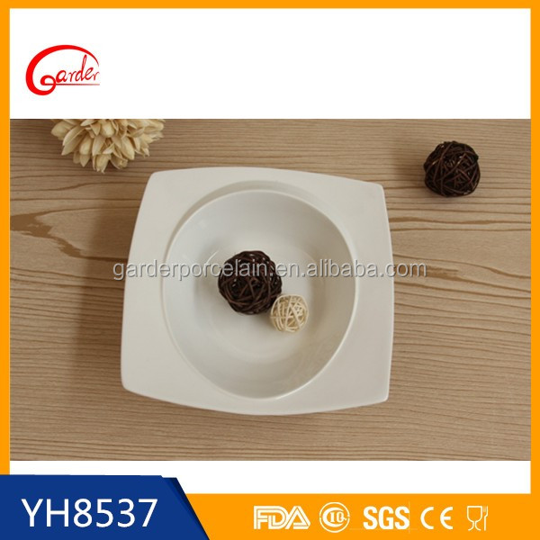 Wholesale white ceramic soup bowl with spoon & plate