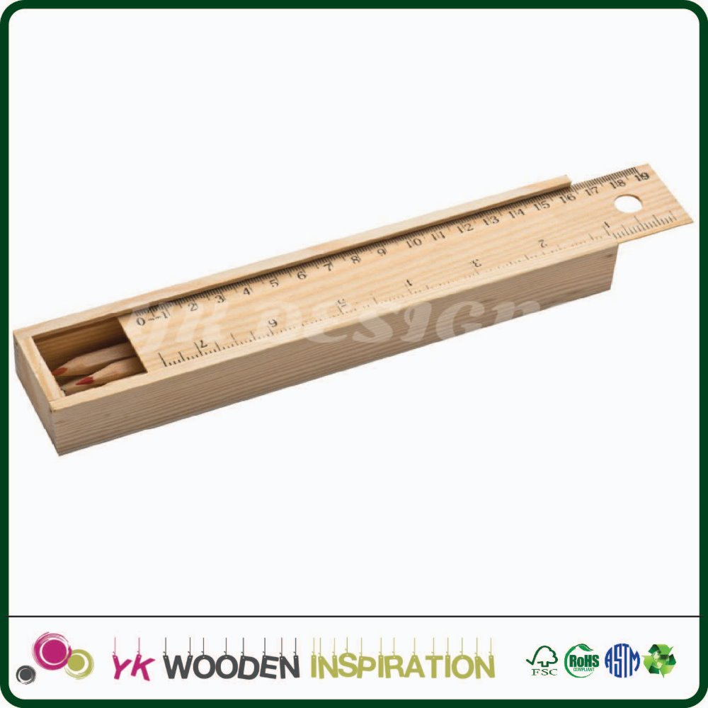 Wooden pencil box with ruler for Stationery Promotional Pen