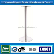 industrial dining table round base stainless steel for tree trunk table