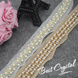 crystal stone pearl beads bridal lace trim Beaded diy mesh lace