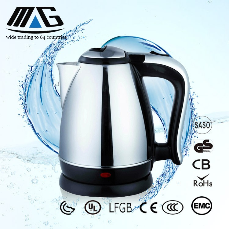 Stainless steel handle and lid bright eletric kettle for tea maker