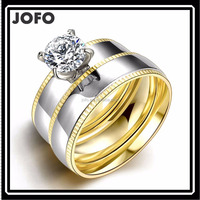 316L Surgical Stainless Steel Zircon Wedding Engagement Rings For Women And Men