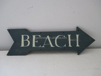 BEACH ARROW Decorative Distressed Wooden Wall Hanging Sign Plaque with LED lights