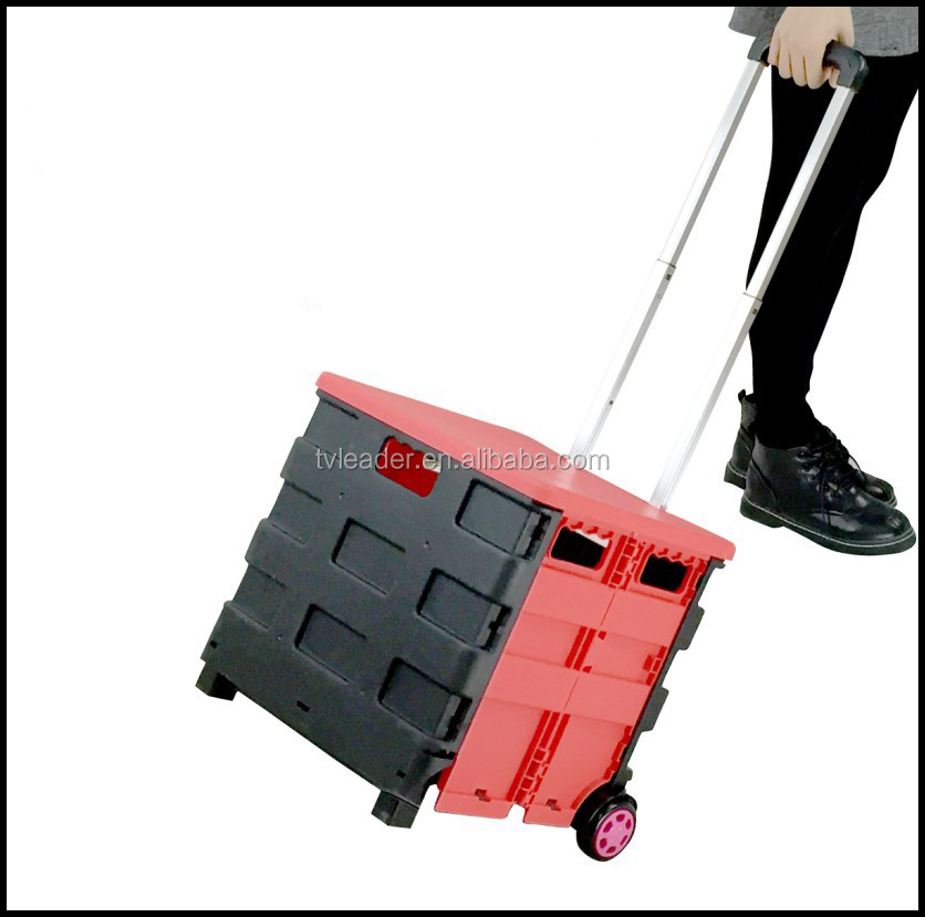 2016 new design plastic folding shopping cart trolley foldable shopping crate trolley wholesale