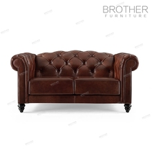 Living room upholstered furniture 2 seater design leather sofa with wood carving