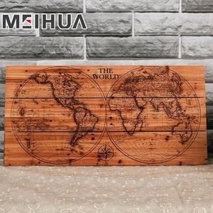 world map printed art on wood wall decor wood crafts