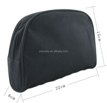 Black blank shell shape zipper closure 600D polyester unisex make up pouch