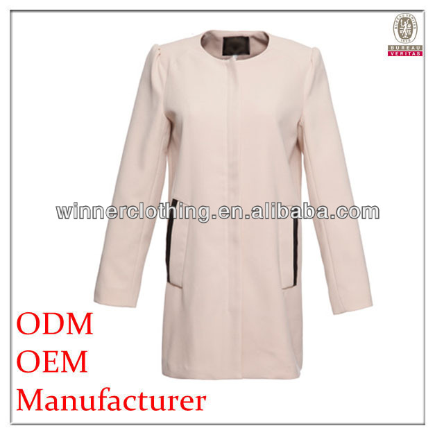 best price round neck collar puff sleeve trench designer western-style coats with pockets