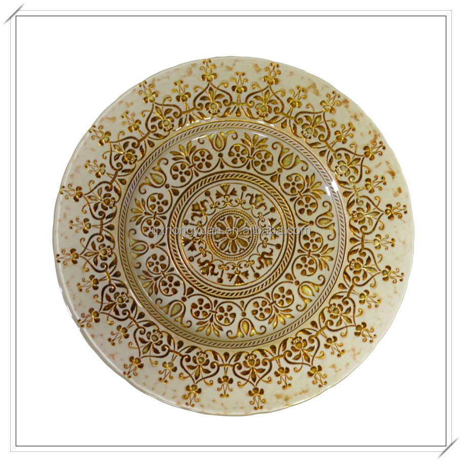 Hot Sale Wholesale 13inch Gold Glass Show Plate  Buy
