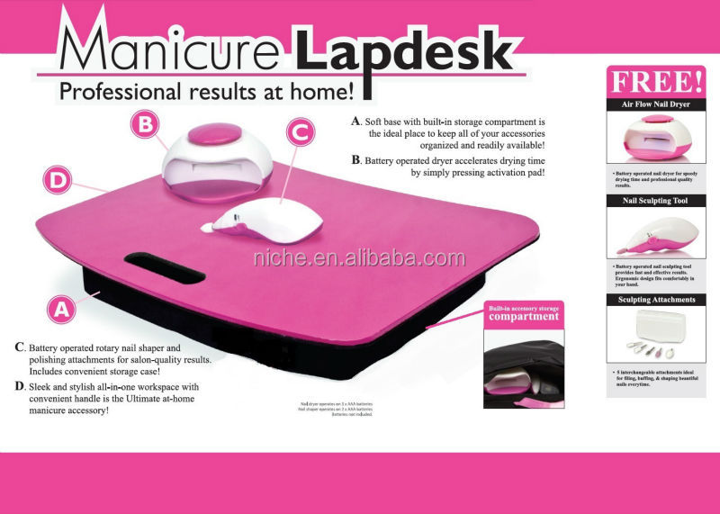 All-in-one nail care tools with storage Manicure Lapdesk