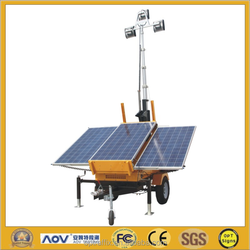 Rechargeable Low Power Battery Powered Construction Portable Mobile Solar Led Light Tower