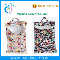 Famicheer Quality Zipper Double layer PUL leakage free Hanging diaper pail liner
