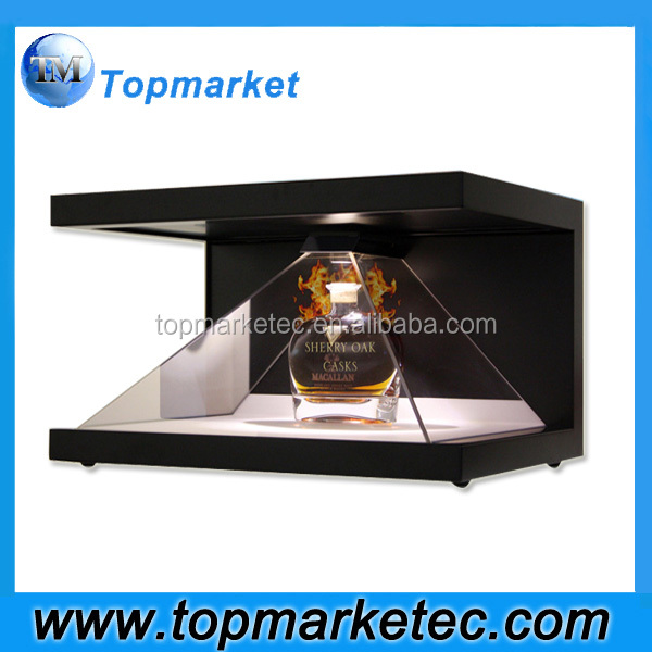 270 degrees 32 inch 3D Pyramid Hologram Display Showcase full HD 3d holographic display