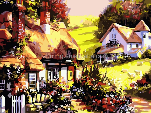 Chinese high quality wholesale handmade Country House DIY oil painting