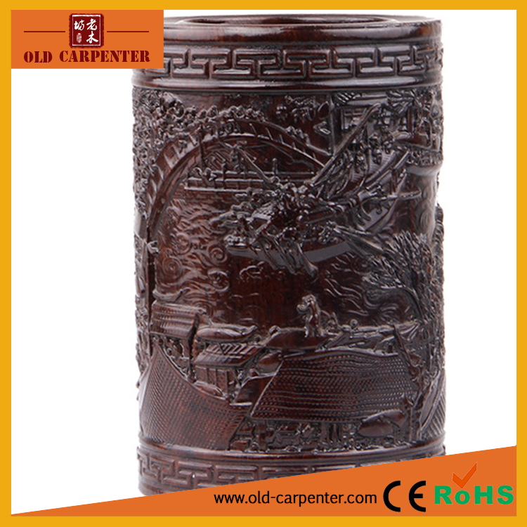 Vintage Riverside Scene at Qingming Festival carving office home ornament wooden pen holder