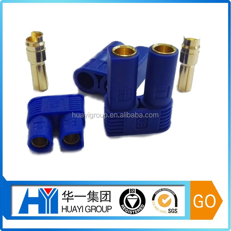 High voltage 8 mm gold plated banana plug EC8 standard male & female electrical pin connector with blue plastic housing