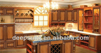 foshan classic style Solid wood kitchen cabinet