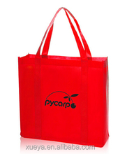 red color long handles non woven tote shopping bag