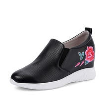 breathable casual embroidered leather women shoes