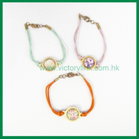 Flower Sticker Charms Cotton String Custom Bracelet