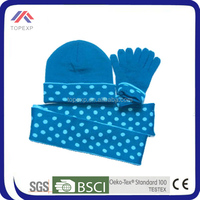 2014 cute blue wool red hat gloves and scarf set