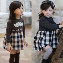 2016 Princess Wedding Alibaba Casual Long Sleeve Plaid New Kids Dress