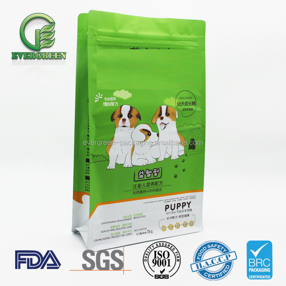 Top Resealable Bottom Gusset Plastic Pet Dog Food Packaging Bag 500g 1kg 5kg 10kg