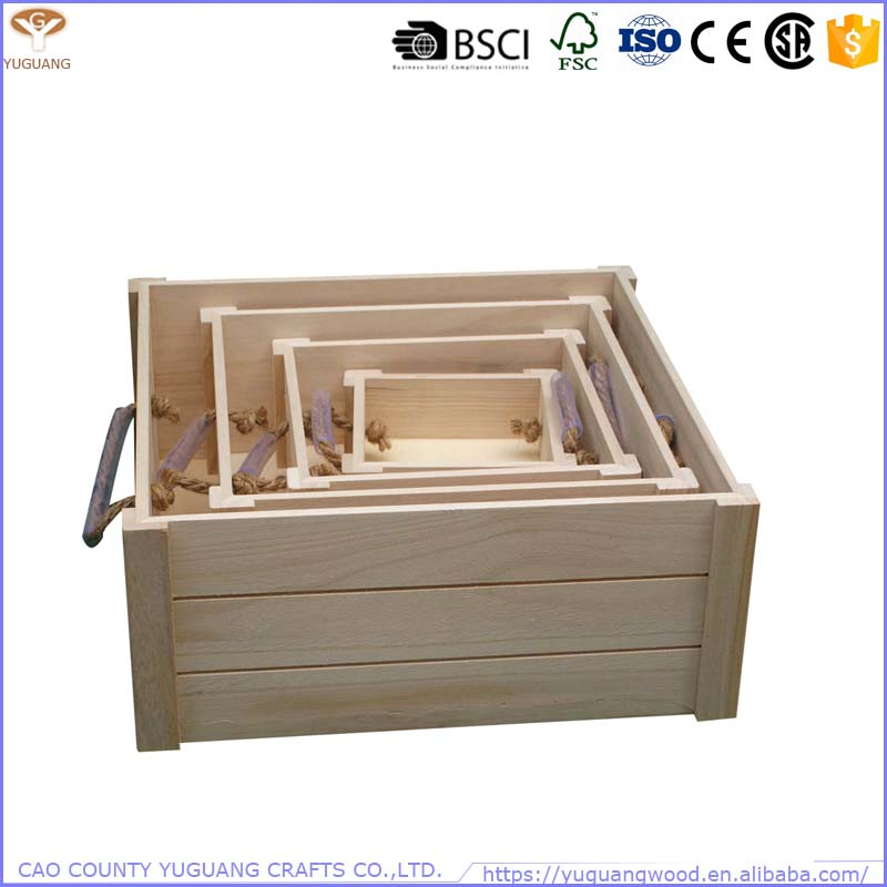 Big and small size 4 set a series of square pine wood crate box with rope