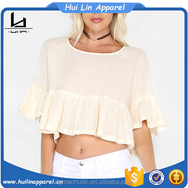 trendy clothes alibaba wholesale custom bulk linen cotton crop ruffle tops for women