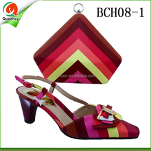 BCH08 Queency Online Wholesale Italian Women Red Shoes and Clutch Bags to Match Set for Nigeria Wedding