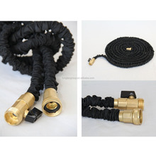 "3/4"" black expandable garden hose with brass connector"